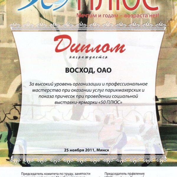 Диплом сети салонов Восход в Минске